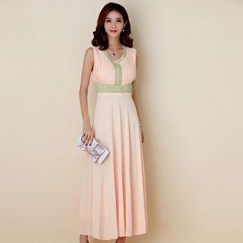 【白色戀人大尺碼】粉色繡珠修身無袖長款晚禮服