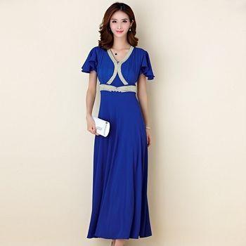 【白色戀人大尺碼】藍色繡珠荷葉袖長款晚禮服