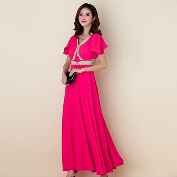 【白色戀人大尺碼】玫红色繡珠荷葉袖長款晚禮服