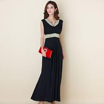 【白色戀人大尺碼】黑色繡珠百褶無袖長款晚禮服