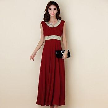 【白色戀人大尺碼】酒紅色繡珠百褶無袖長款晚禮服
