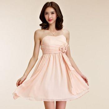 【白色戀人大尺碼】粉色平口抓摺玫瑰花小禮服