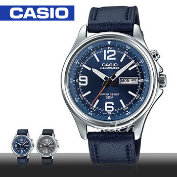 【CASIO 卡西歐】商務休閒錶款 皮革指針型 石英男錶(MTP-E201L)