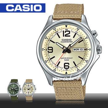 【CASIO 卡西歐】新品上市 帆布錶帶 石英指針型男錶(MTP-E201)
