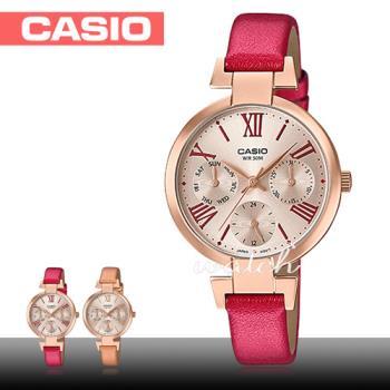 【CASIO 卡西歐】優雅氣質錶款 三眼玫瑰金 皮革石英女錶(LTP-E404PL)