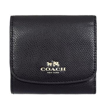 COACH 荔枝紋皮革三折零錢袋短夾-黑色