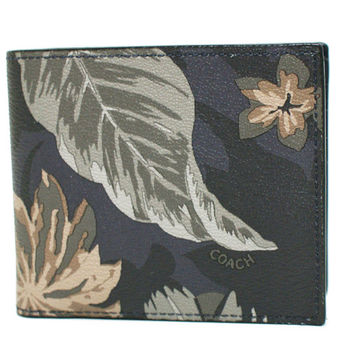 【COACH】專櫃新款花卉圖騰防刮皮革8卡對折輕便短夾附活動證件夾(深藍)