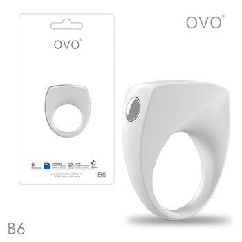 德國OVO-B6 前衛男性 矽膠靜音時尚震動環-白色-M網
