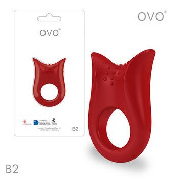 德國OVO-B2 前衛男性 矽膠靜音時尚震動環-紅色-M網
