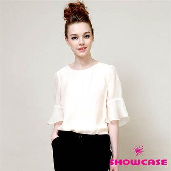 SHOWCAS 縐紗寬鬆荷葉袖質感上衣-156581C