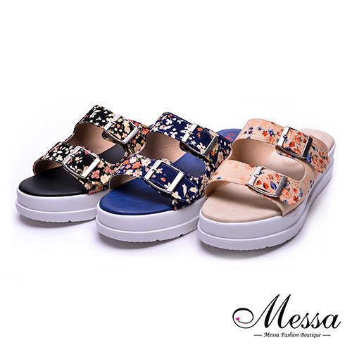 【Messa米莎專櫃女鞋】MIT迷人金屬扣環花漾厚底拖鞋-三色