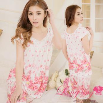 lingling日系 全尺碼-牛奶絲滾邊蕾絲花朵短袖二件式睡衣組(可人粉)A2844-01