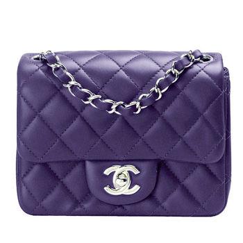 CHANEL 經典菱格紋羊皮轉釦銀鍊MINI COCO包(紫羅蘭色)