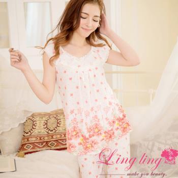lingling日系 全尺碼-牛奶絲滾邊蕾絲花朵短袖二件式睡衣組(浪漫桔)A2844-02