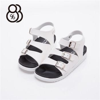 【88%】MIT台灣製 時尚經典色 皮革 三金屬扣環 3.5cm底 涼鞋(2色)