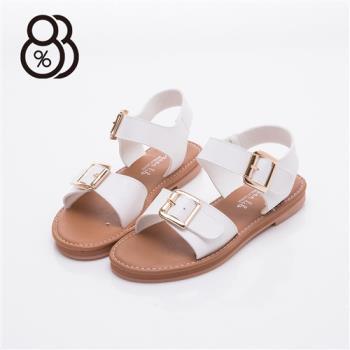 【88%】MIT台灣製 金屬扣環 牛皮色鞋底 一字寬 涼鞋(2色)