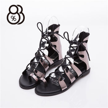 【88%】MIT台灣製 交叉綁帶 皮革羅馬涼鞋(2色)