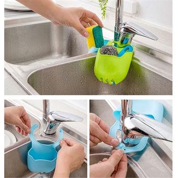 【日式創意】創意水龍頭按扣式x6入/ 廚房海綿 /收納架/ 水槽置物架/ 瀝水架/ 收納袋 掛袋