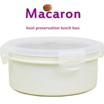 【卡滋馬卡龍】隔熱餐盒600ccx2入/便當盒/保鮮盒(牛奶白x2)