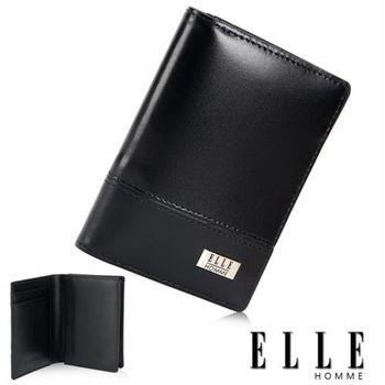【ELLE HOMME】法式精品名片夾 專屬零錢收納/夾證件/名片格層設計(黑 EL81797-02)