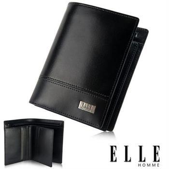 【ELLE HOMME】隱藏式拉鍊零錢層/鈔票多層/證件/名片格層設計(黑 EL81800-02)