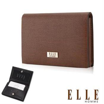 【ELLE HOMME】法式精品名片皮夾顆粒紋路耐磨防刮、可扣式置物名片格層設計(咖啡 EL81859-45)