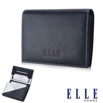 【ELLE HOMME】法式精品名片皮夾幾何菱型白邊點綴元素設計嚴選頭層皮(藍 EL81879-42)