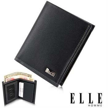 【ELLE HOMME】法式精品短夾-水波紋系列、鈔票多層/證件多層設計短夾(黑 EL81769-02)