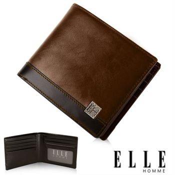 【ELLE HOMME】法式精品短夾 單層 鈔票多層/證件/名片格層設計(咖啡 EL81782-45)