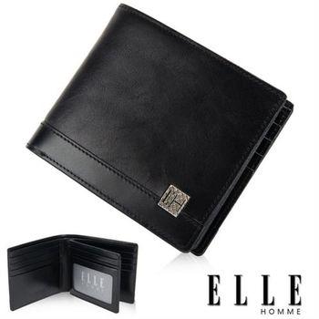 【ELLE HOMME】法式精品短夾 雙層 鈔票多層/證件/名片格層設計(黑 EL81783-02)