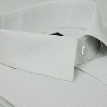 【金安德森】白色條紋類絲質長袖襯衫