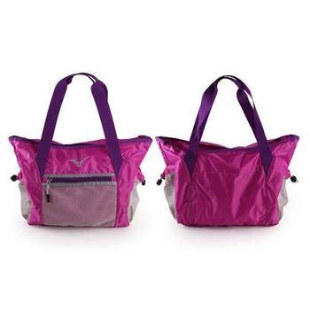 【MIZUNO】女用側肩袋-可收納-美津濃 側背包 斜背包 旅行袋 行李包 紫