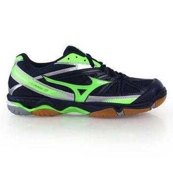 【MIZUNO】WAVE HURRICANE 2男排球鞋- 美津濃 羽球 深藍螢光綠