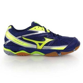 【MIZUNO】WAVE HURRICANE 2男排球鞋- 美津濃 羽球 藍螢光黃
