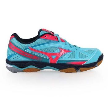 【MIZUNO】WAVE HURRICANE 2女排球鞋- 美津濃 羽球 水藍桃紅