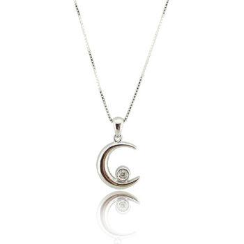 彎彎月 S925純銀 鋯石 項鍊