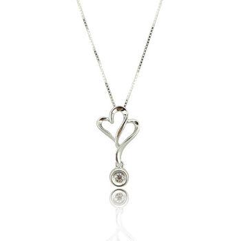 雙心愛鍊 S925純銀 鋯石 項鍊