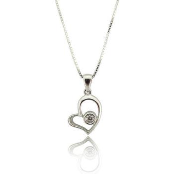 心項鍊 S925純銀 鋯石 項鍊