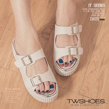 【TW Shoes】韓系穿搭寬帶厚底鬆糕拖鞋【K123I3588】