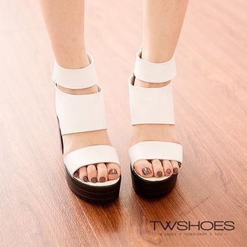 【TW Shoes】個性魅力包踝厚底高跟羅馬涼鞋【K121I3494】