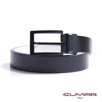 CUMAR 義大利牛皮-黑白兩面雙色-穿針式造型皮帶 0596-E01-11