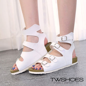 【TW Shoes】街頭休閒羅馬繞踝厚底涼鞋【K122A3366】