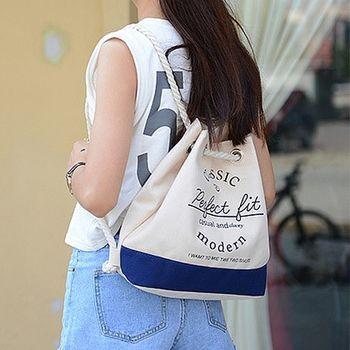 【Acorn*橡果】英倫風帆布後背包水桶包6544(藍色邊)