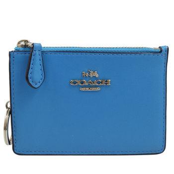 COACH 65986 馬車LOGO全皮革卡片鑰匙零錢包.藍