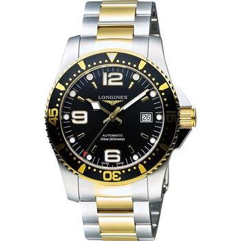 LONGINES 深海征服者300米潛水機械腕錶-黑x雙色版/41mm L36423567