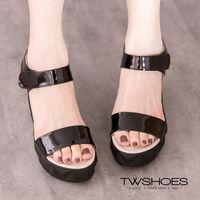 ~TW Shoes~立體切割 漆皮厚底涼鞋~K122I3305~