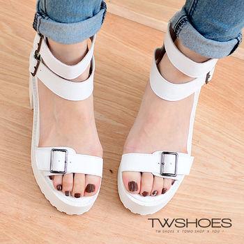 【TW Shoes】俐落修飾雙繫踝設計粗跟涼鞋【K122I3314】