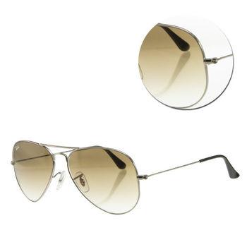 【Ray Ban】經典飛官褐色銀框太陽眼鏡-小版(RB3025 004/51 58)