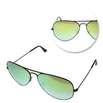 【Ray Ban】經典飛官黑框水銀鏡面太陽眼鏡-小版(RB3025-002/4J-58)