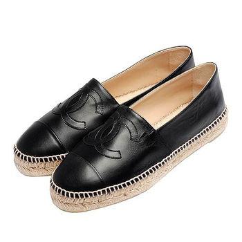 CHANEL 經典Espadrilles小香LOGO小羊皮厚底鉛筆鞋(黑-36)